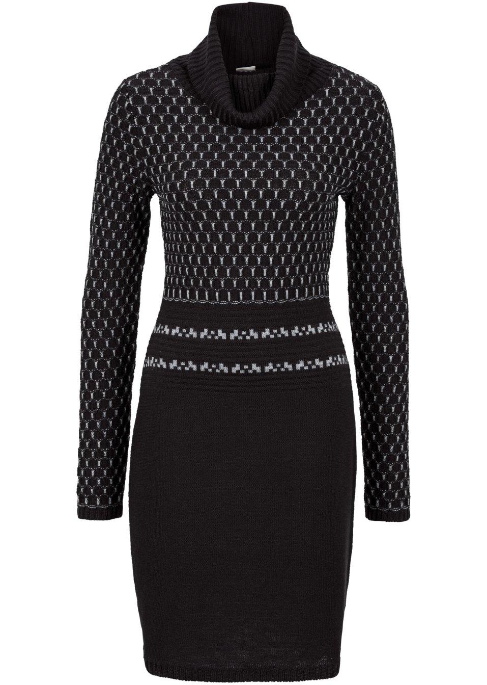 feminines langarm strickkleid mit rollkragen schwarz grau. Black Bedroom Furniture Sets. Home Design Ideas