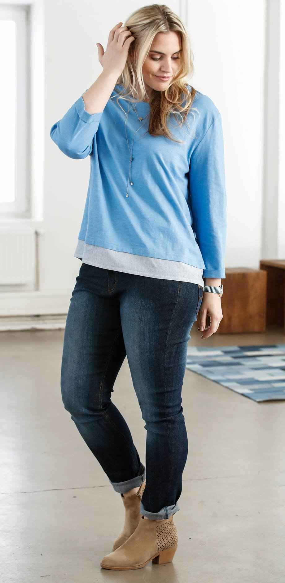 Damen - 3/4-Arm-Shirt in 2-in-1-Optik - mittelblau