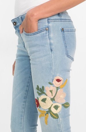 Damen - Skinny-Jeans mit Stickerei - lightblue denim