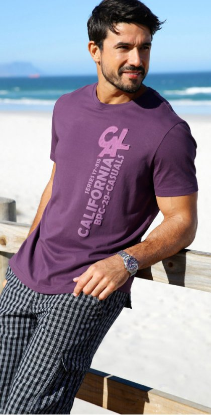 Herren - T-Shirt, Regular Fit - weinbeere