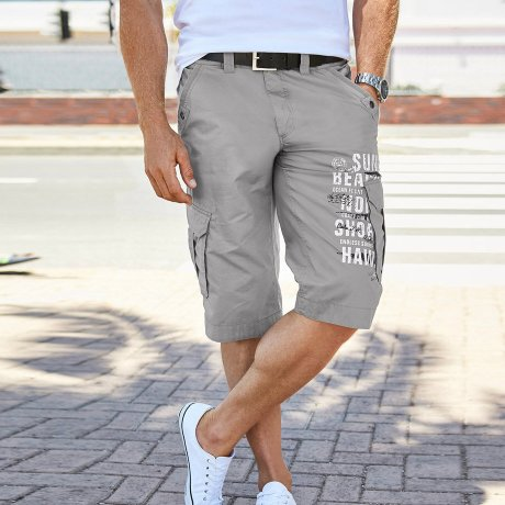 Herren - Cargo-Long-Bermuda, Loose Fit - grau