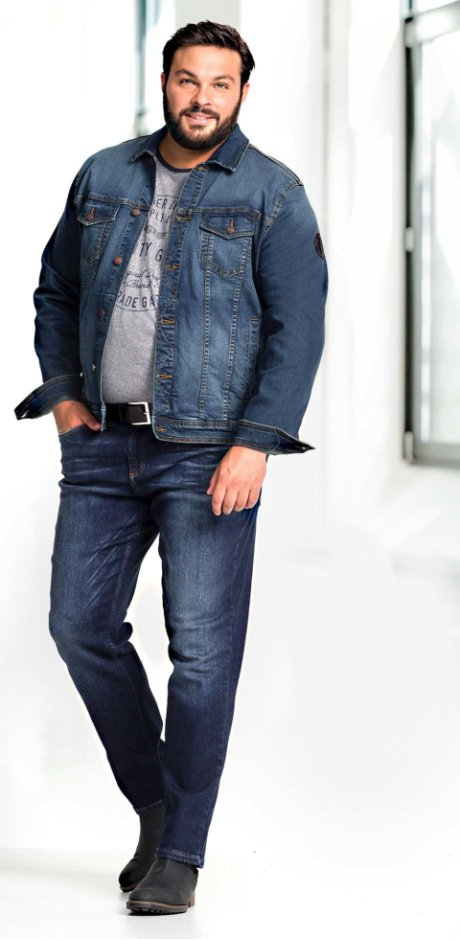 Herren - Stretch-Jeansjacke mit Badge Regular Fit - blau used