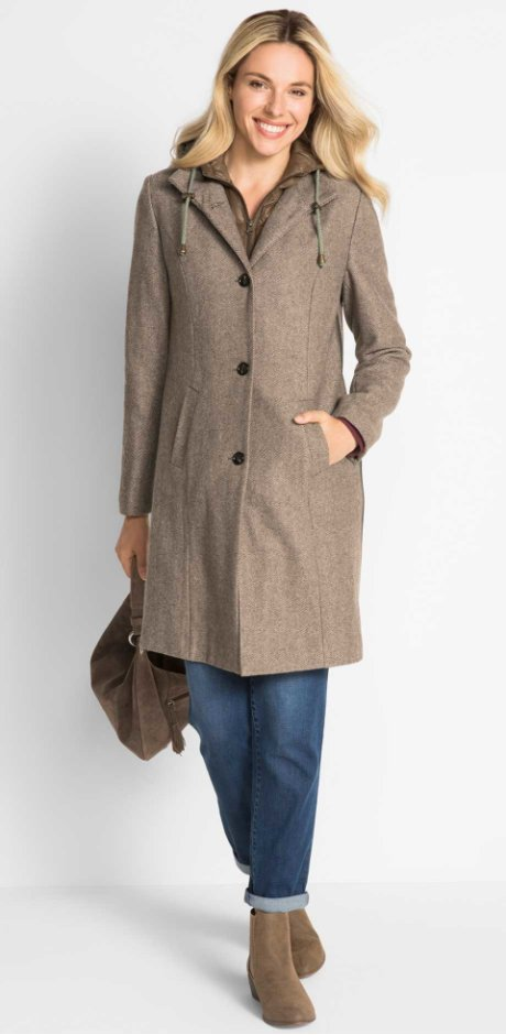 Damen - Tragejacke/ Umstands-Wintermantel mit Wolle, 2in1 Optik - beige