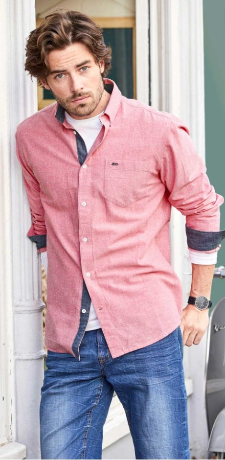 Herren - Langarmhemd mit Stickerei Regular Fit - rosa