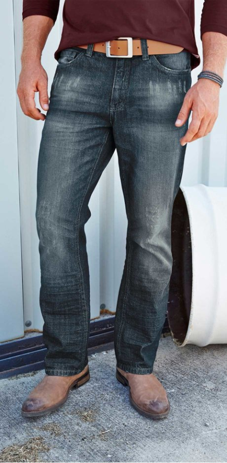 Herren - Jeans Regular Fit Bootcut - dunkelblau used