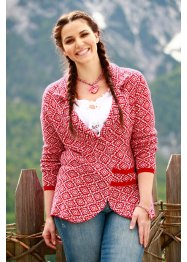 Trachten-Strickjacke, bpc bonprix collection, dunkelrot/weiß