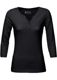 Shirt mit Henley-Kragen, bpc bonprix collection, schwarz