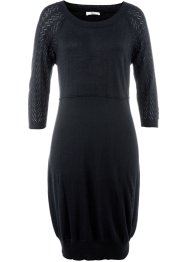 Strickkleid mit 3/4-Ärmeln, bpc bonprix collection, schwarz