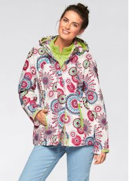 3-in-1-Funktions-Outdoorjacke mit Kapuze, bpc bonprix collection, wollweiß bedruckt