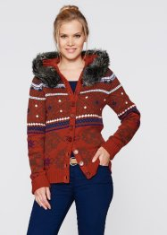 Strickjacke mit Kapuze, bpc bonprix collection, wollweiß gemustert