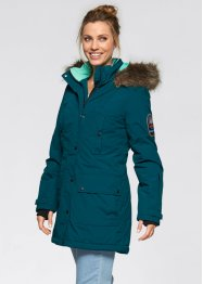 Funktions-Outdoor-Langjacke mit Kapuze, bpc bonprix collection, naturstein