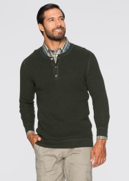 Pullover m. Knopfleiste Regular Fit, bpc selection, hellbraun meliert