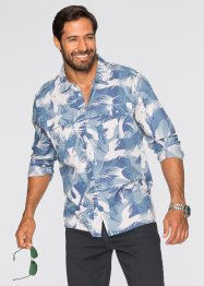 Langarmhemd Regular Fit, bpc bonprix collection, blau gemustert