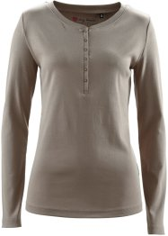 Basic Baumwollshirt Rib-Jersey, bpc bonprix collection, taupe