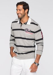 Langarmpoloshirt Regular Fit, bpc selection, hellgrau meliert/schwarz gestreift