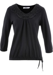 3/4-Arm-Shirt mit Elastikbund, bpc bonprix collection, schwarz