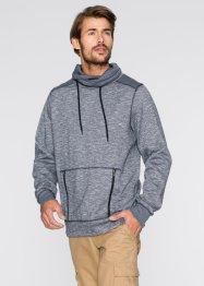 Sweatshirt mit Schalkragen Regular Fit, bpc bonprix collection, dunkelblau/weiß meliert
