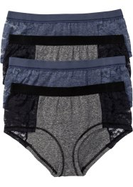 Maxipanty (4er-Pack), bpc bonprix collection, blau/grau meliert
