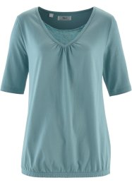 Halbarm-Shirt mit Spitze, bpc bonprix collection, mineralblau