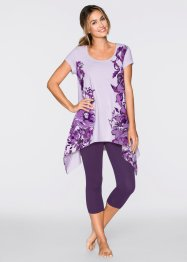 Capri Pyjama, bpc bonprix collection, weinbeere/flieder bedruckt
