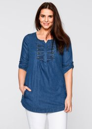 Halbarm-Bluse, bpc bonprix collection, blue stone