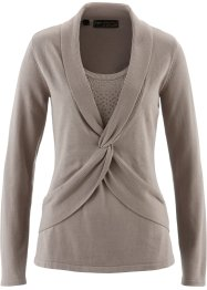 2-in-1-Pullover aus Pima Cotton, bpc selection premium, taupe