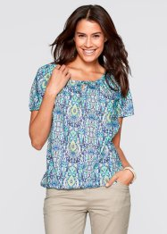 Halbarm-Bluse, bpc bonprix collection, aqua gemustert