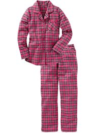 Flanell Pyjama, bpc bonprix collection, dunkelblau/dunkelpink/weiss