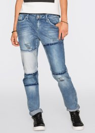 Boyfriend Jeans in Patchworkoptik, RAINBOW, blue stone