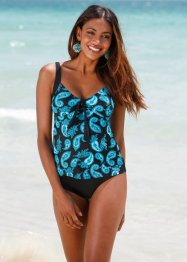 Tankini Oberteil, bpc bonprix collection, schwarz/türkis