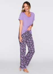 Pyjama, bpc bonprix collection, flieder/schiefergrau bedruckt