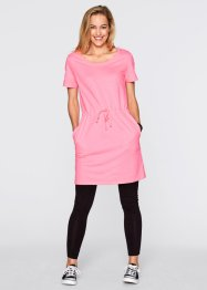 Sweat-Kleid mit halbem Arm, bpc bonprix collection, neonrosa meliert