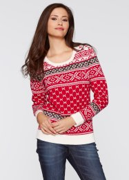 Pullover, bpc bonprix collection, rot gemustert