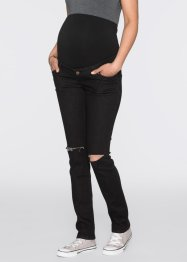 Umstandsjeans mit schmalem Bein im Used-Look, bpc bonprix collection, black denim