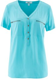 Halbarm-Viskose-Bluse, bpc bonprix collection, aqua