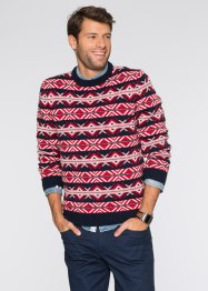 Pullover Regular Fit, bpc bonprix collection, dunkelblau/rot/wollweiß gemustert