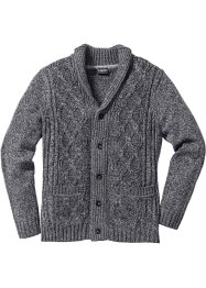 Strickjacke mit Zopfmuster Regular Fit, bpc bonprix collection, grau meliert