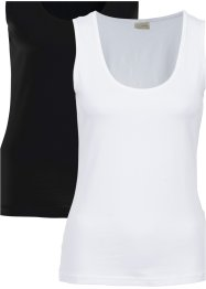 Basic Top (2er-Pack), BODYFLIRT boutique, schwarz/weiß