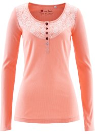 Langarmshirt mit Spitze, bpc bonprix collection, lachsrosa
