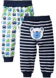 Baby-Sweathose (2er-Pack) Bio-Baumwolle, bpc bonprix collection, dunkelblau/weiß gestreift