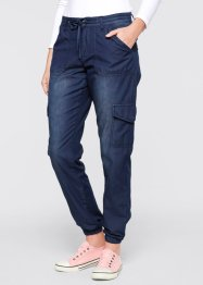 Leichte Cargo-Jeans in weitem Schnitt, bpc bonprix collection, dark denim