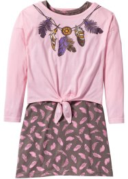 Shirtkleid + Langarmshirt (2-tlg. Set), bpc bonprix collection, puderrosa/mittelbraun bedruckt