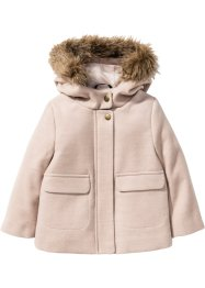 Wattierte Jacke mit Fellimitat-Kapuze, bpc bonprix collection, rosa meliert