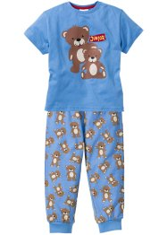 Pyjama (2-tlg. Set), bpc bonprix collection, mittelblau bedruckt