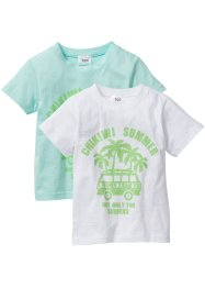 T-Shirt (2er-Pack), bpc bonprix collection, pastellmint+weiß