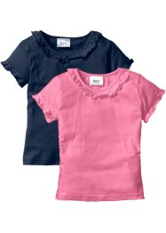 T-Shirt (2er-Pack), bpc bonprix collection, dunkelblau+knallrosa