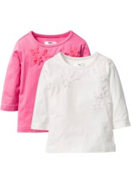 Shirt mit Applikation (2er-Pack), bpc bonprix collection, wollweiß+pink
