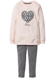 Pyjama (2-tlg.) Bigshirt + Leggings, bpc bonprix collection, cremerosa/grau meliert
