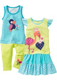 Top + T-Shirt + Rock + 3/4 Leggings (4-tlg. Set), bpc bonprix collection, aqua/kiwigrün