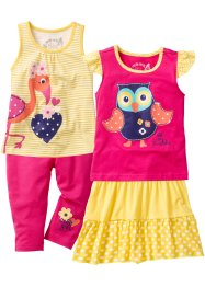Top + T-Shirt + Rock + 3/4 Leggings (4-tlg. Set), bpc bonprix collection, tulpengelb/pink